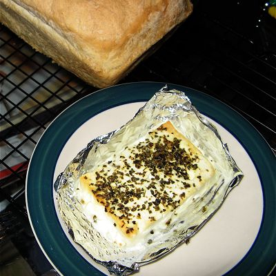 Broiled feta cheese