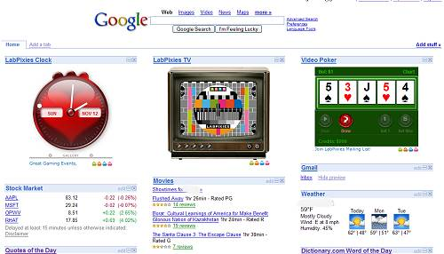 LabPixies on my Google Homepage